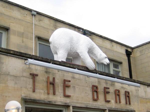 Bear Pub, Bath, showing Snowy the concrete polar bear